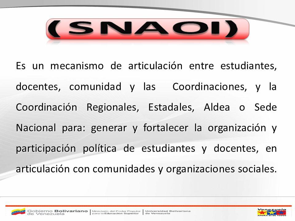 Es un mecanismo de articulación entre estudiantes, docentes, comunidad y las Coordinaciones, y la Coordinación Regionales, Estadales, Aldea o Sede Nac