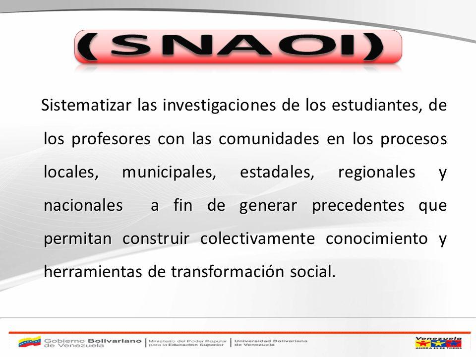 Sistematizar las investigaciones de los estudiantes, de los profesores con las comunidades en los procesos locales, municipales, estadales, regionales