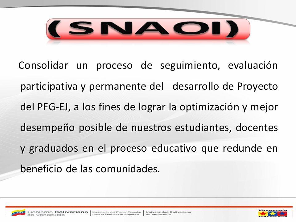 Consolidar un proceso de seguimiento, evaluación participativa y permanente del desarrollo de Proyecto del PFG-EJ, a los fines de lograr la optimizaci