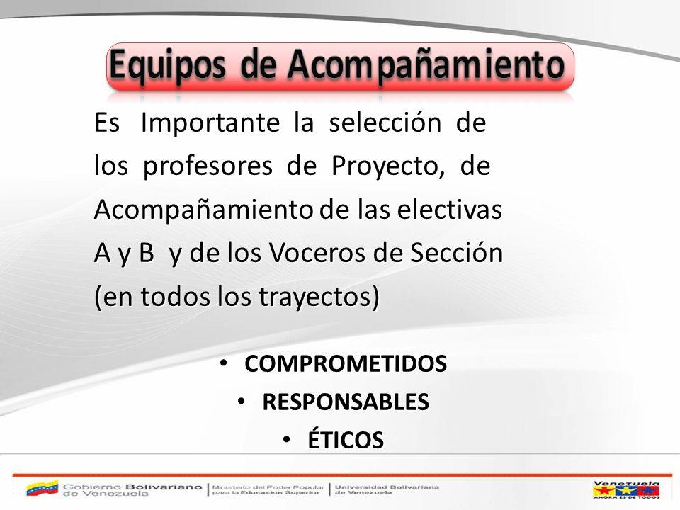 Es Importante la selección de los profesores de Proyecto, de Acompañamiento de las electivas A y B y de los Voceros de Sección (en todos los trayectos