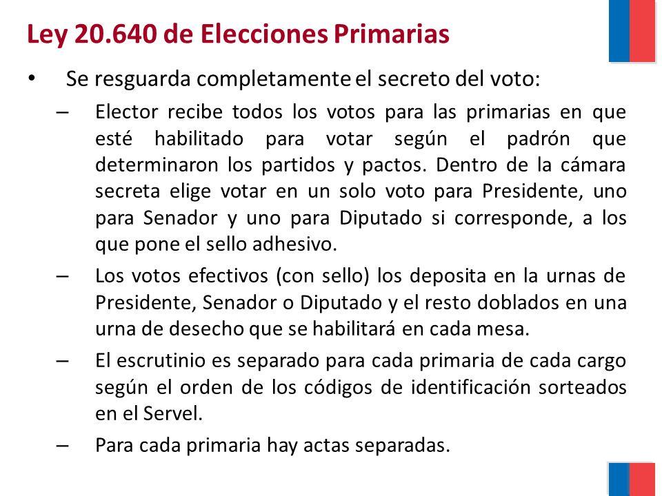 Se resguarda completamente el secreto del voto: – Elector recibe todos los votos para las primarias en que esté habilitado para votar según el padrón que determinaron los partidos y pactos.