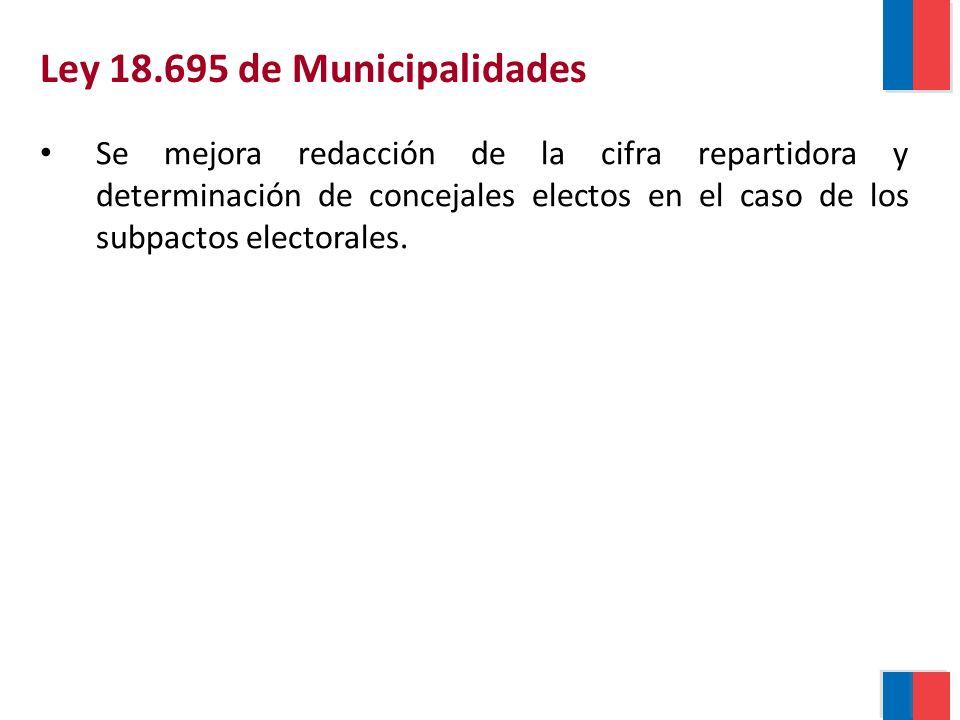 Ley 18.695 de Municipalidades Se mejora redacción de la cifra repartidora y determinación de concejales electos en el caso de los subpactos electorales.