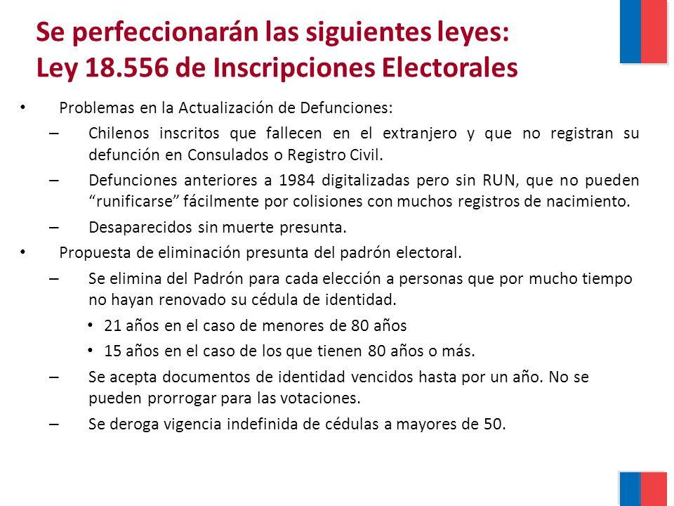 Problemas en la Actualización de Defunciones: – Chilenos inscritos que fallecen en el extranjero y que no registran su defunción en Consulados o Registro Civil.