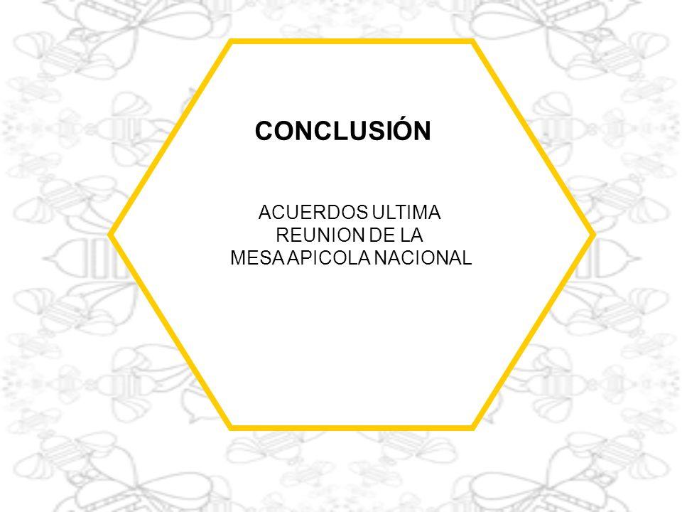 ACUERDOS ULTIMA REUNION DE LA MESA APICOLA NACIONAL CONCLUSIÓN