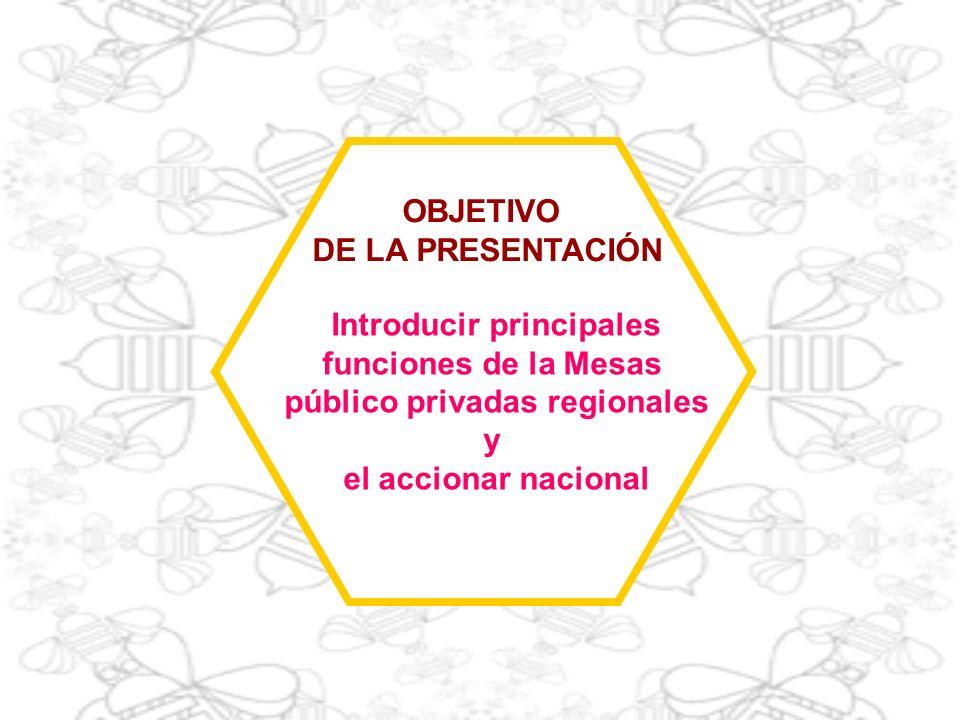 OBJETIVO DE LA PRESENTACIÓN Introducir principales funciones de la Mesas público privadas regionales y el accionar nacional