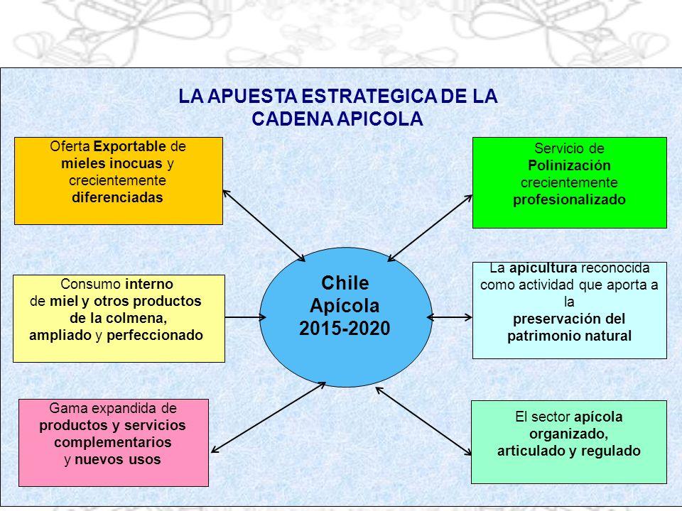Chile Apícola 2015-2020 Oferta Exportable de mieles inocuas y crecientemente diferenciadas Servicio de Polinización crecientemente profesionalizado Ga