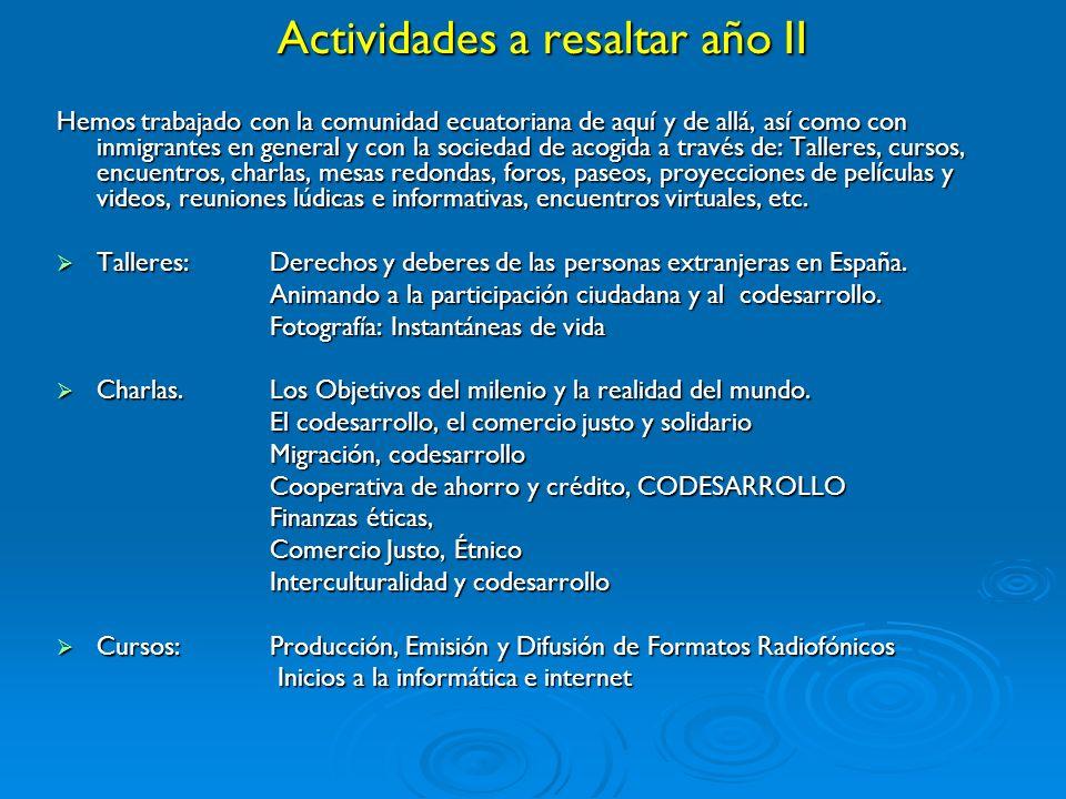 Actividades a resaltar año II Hemos trabajado con la comunidad ecuatoriana de aquí y de allá, así como con inmigrantes en general y con la sociedad de acogida a través de: Talleres, cursos, encuentros, charlas, mesas redondas, foros, paseos, proyecciones de películas y videos, reuniones lúdicas e informativas, encuentros virtuales, etc.