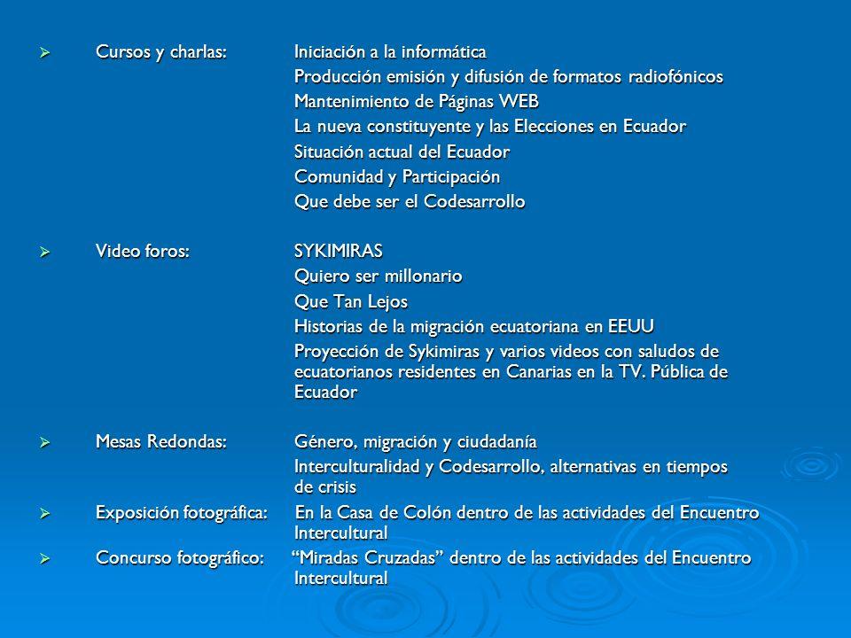 Cursos y charlas: Iniciación a la informática Cursos y charlas: Iniciación a la informática Producción emisión y difusión de formatos radiofónicos Mantenimiento de Páginas WEB La nueva constituyente y las Elecciones en Ecuador Situación actual del Ecuador Comunidad y Participación Que debe ser el Codesarrollo Video foros:SYKIMIRAS Video foros:SYKIMIRAS Quiero ser millonario Que Tan Lejos Historias de la migración ecuatoriana en EEUU Proyección de Sykimiras y varios videos con saludos de ecuatorianos residentes en Canarias en la TV.