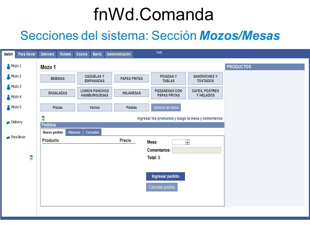 Secciones del sistema: Sección Mozos/Mesas