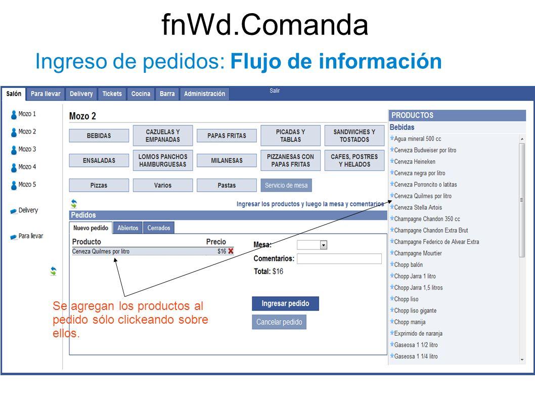 fnWd.Comanda Ingreso de pedidos: Flujo de información Se agregan los productos al pedido sólo clickeando sobre ellos.