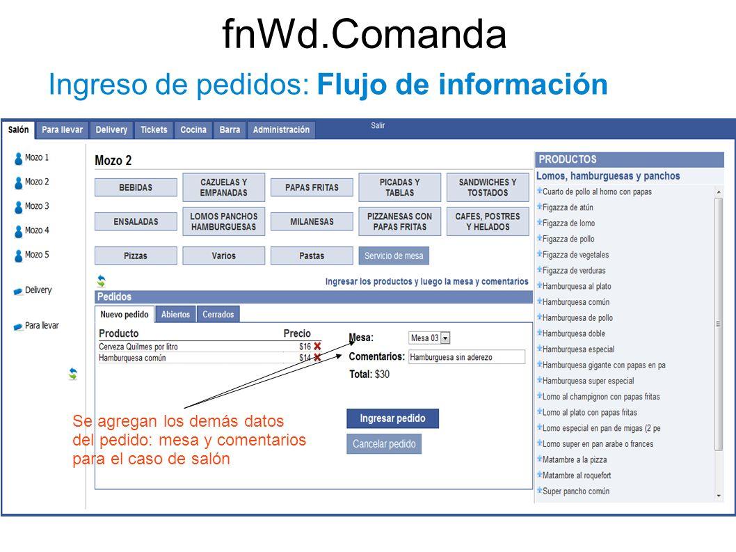 fnWd.Comanda Ingreso de pedidos: Flujo de información Se agregan los demás datos del pedido: mesa y comentarios para el caso de salón