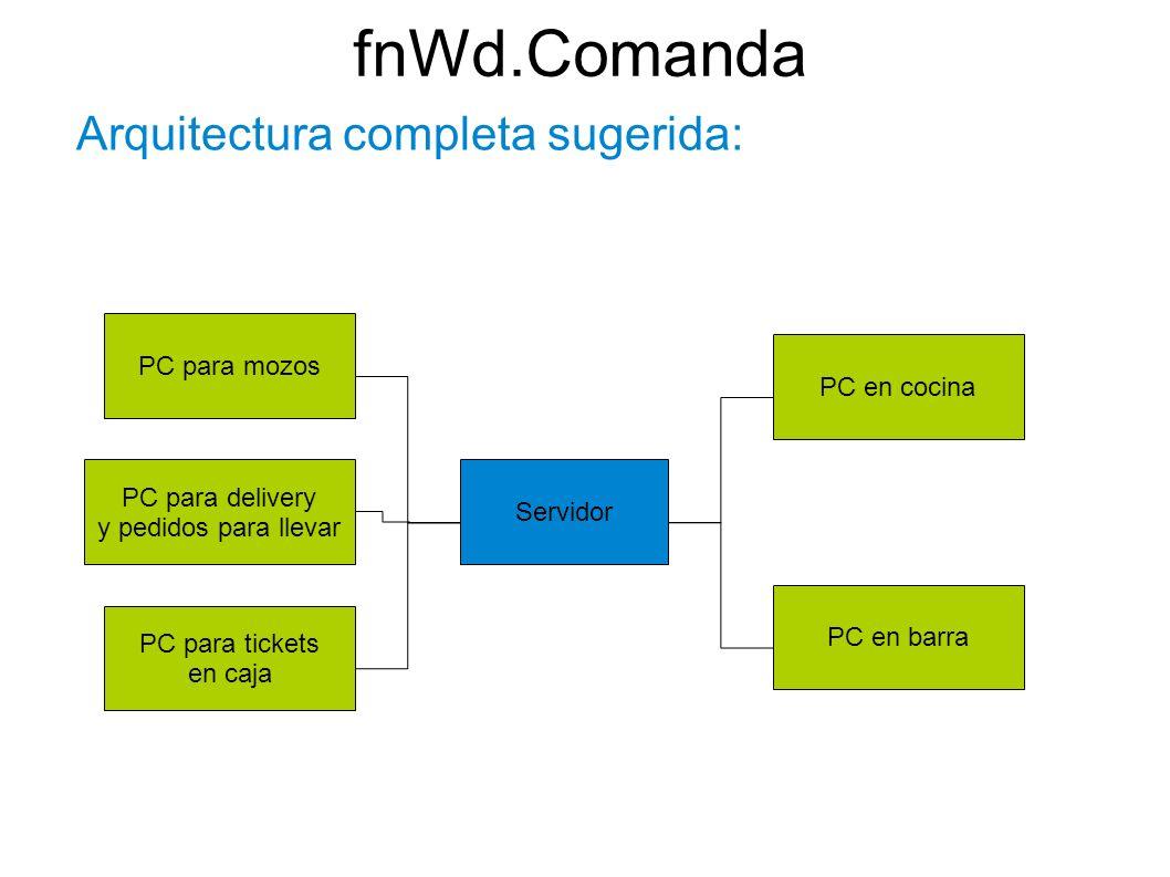 Arquitectura completa sugerida: Servidor PC para mozos PC para delivery y pedidos para llevar PC para tickets en caja PC en cocina PC en barra