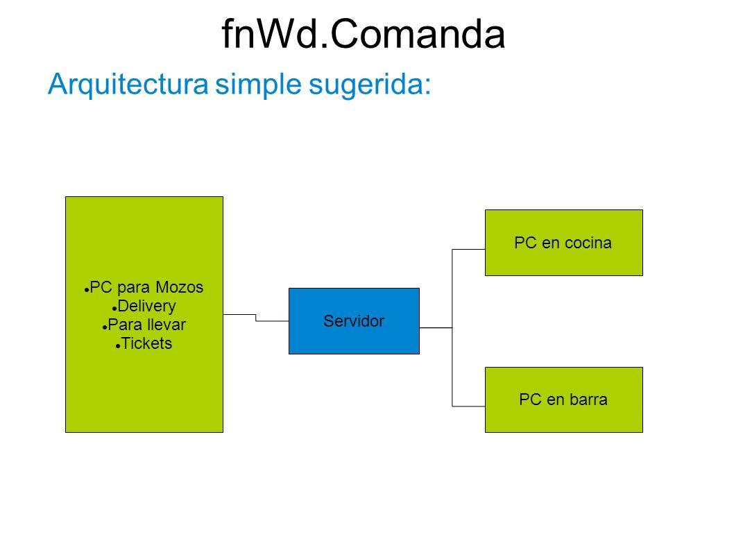 fnWd.Comanda Arquitectura simple sugerida: Servidor PC para Mozos Delivery Para llevar Tickets PC en cocina PC en barra