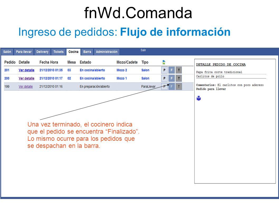 fnWd.Comanda Ingreso de pedidos: Flujo de información Una vez terminado, el cocinero indica que el pedido se encuentra Finalizado. Lo mismo ocurre par