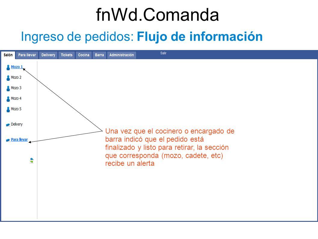 fnWd.Comanda Ingreso de pedidos: Flujo de información Una vez que el cocinero o encargado de barra indicó que el pedido está finalizado y listo para r