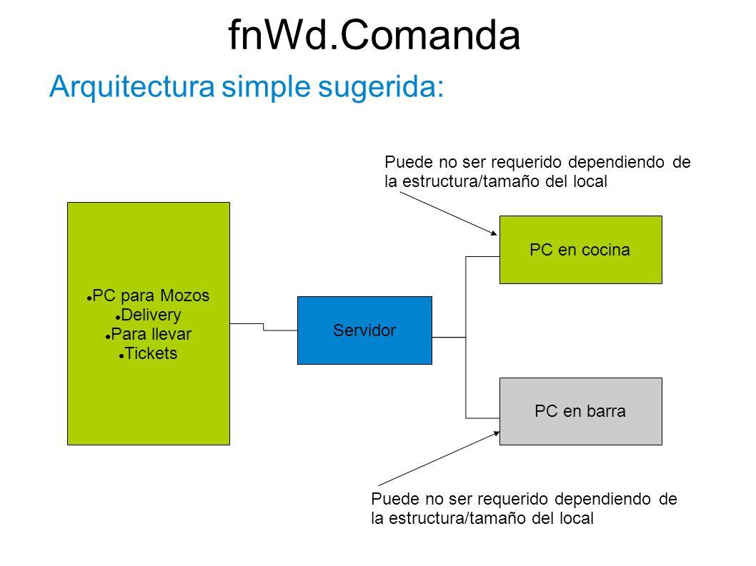fnWd.Comanda Arquitectura simple sugerida: Servidor PC en cocina PC en barra Puede no ser requerido dependiendo de la estructura/tamaño del local PC p