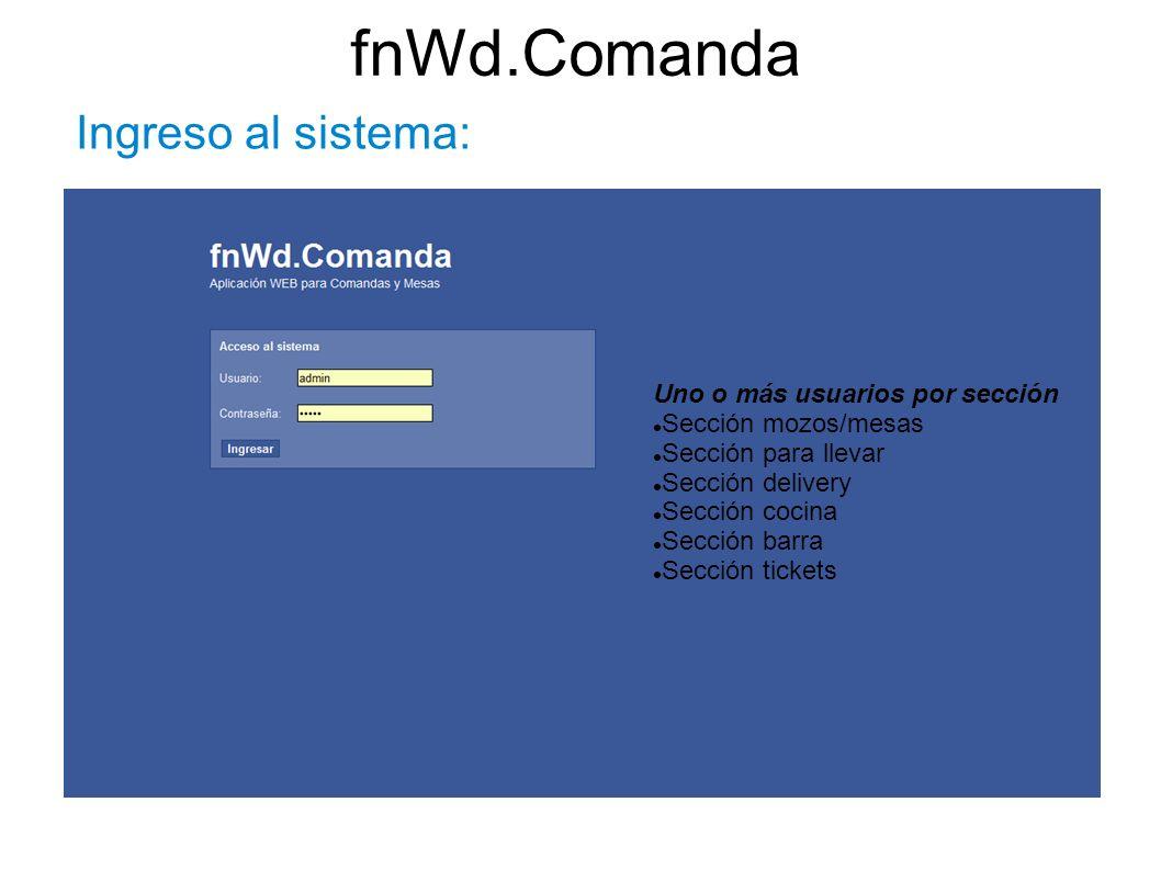 fnWd.Comanda Ingreso al sistema: Uno o más usuarios por sección Sección mozos/mesas Sección para llevar Sección delivery Sección cocina Sección barra