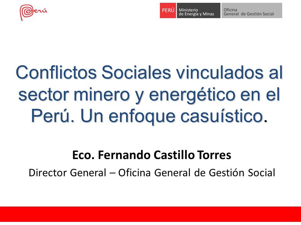 Conflictos Sociales vinculados al sector minero y energético en el Perú. Un enfoque casuístico. Eco. Fernando Castillo Torres Director General – Ofici