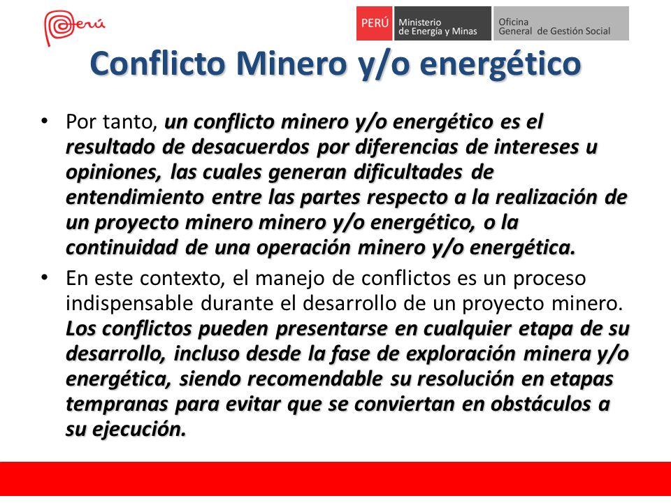 Conflicto Minero y/o energético un conflicto minero y/o energético es el resultado de desacuerdos por diferencias de intereses u opiniones, las cuales