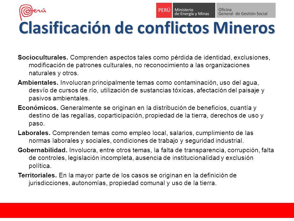 Clasificación de conflictos Mineros Socioculturales. Comprenden aspectos tales como pérdida de identidad, exclusiones, modificación de patrones cultur