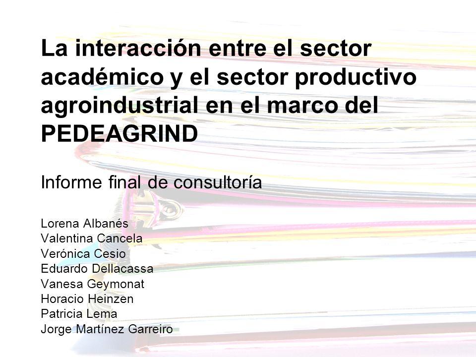 La interacción entre el sector académico y el sector productivo agroindustrial en el marco del PEDEAGRIND Informe final de consultoría Lorena Albanés