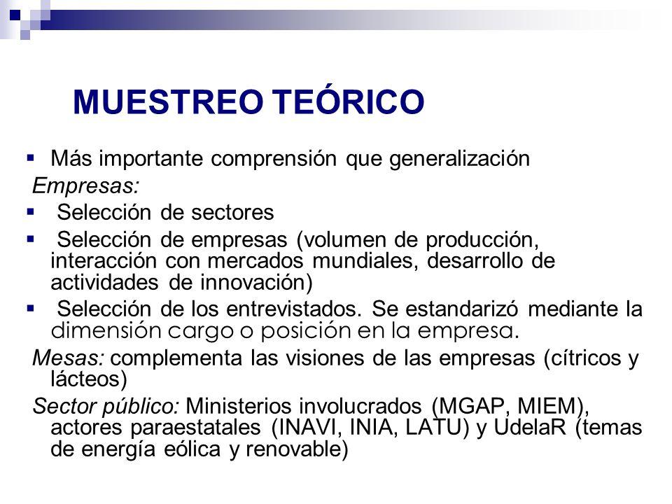 Más importante comprensión que generalización Empresas: Selección de sectores Selección de empresas (volumen de producción, interacción con mercados m