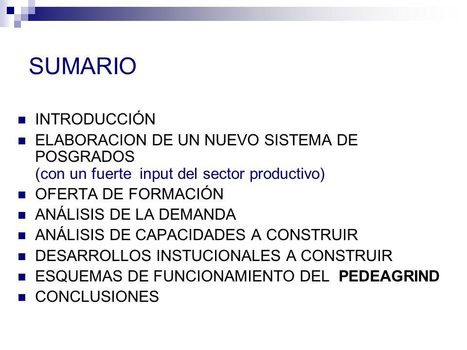 SUMARIO INTRODUCCIÓN ELABORACION DE UN NUEVO SISTEMA DE POSGRADOS (con un fuerte input del sector productivo) OFERTA DE FORMACIÓN ANÁLISIS DE LA DEMANDA ANÁLISIS DE CAPACIDADES A CONSTRUIR DESARROLLOS INSTUCIONALES A CONSTRUIR ESQUEMAS DE FUNCIONAMIENTO DEL PEDEAGRIND CONCLUSIONES