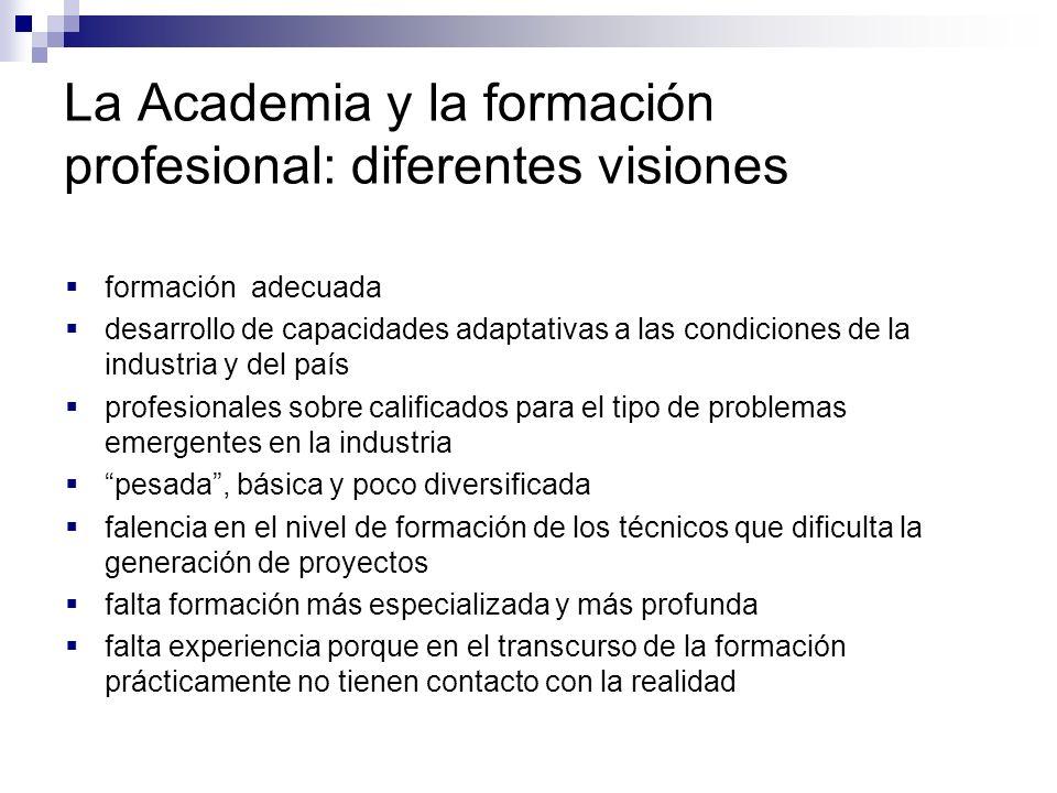 La Academia y la formación profesional: diferentes visiones formación adecuada desarrollo de capacidades adaptativas a las condiciones de la industria