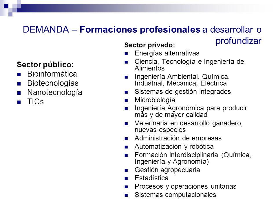 DEMANDA – Formaciones profesionales a desarrollar o profundizar Sector público: Bioinformática Biotecnologías Nanotecnología TICs Sector privado: Ener