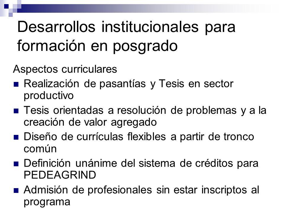 Desarrollos institucionales para formación en posgrado Aspectos curriculares Realización de pasantías y Tesis en sector productivo Tesis orientadas a