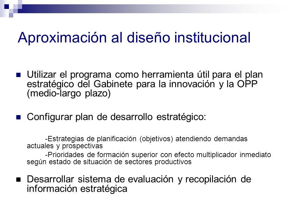 Aproximación al diseño institucional Utilizar el programa como herramienta útil para el plan estratégico del Gabinete para la innovación y la OPP (medio-largo plazo) Configurar plan de desarrollo estratégico: -Estrategias de planificación (objetivos) atendiendo demandas actuales y prospectivas -Prioridades de formación superior con efecto multiplicador inmediato según estado de situación de sectores productivos Desarrollar sistema de evaluación y recopilación de información estratégica