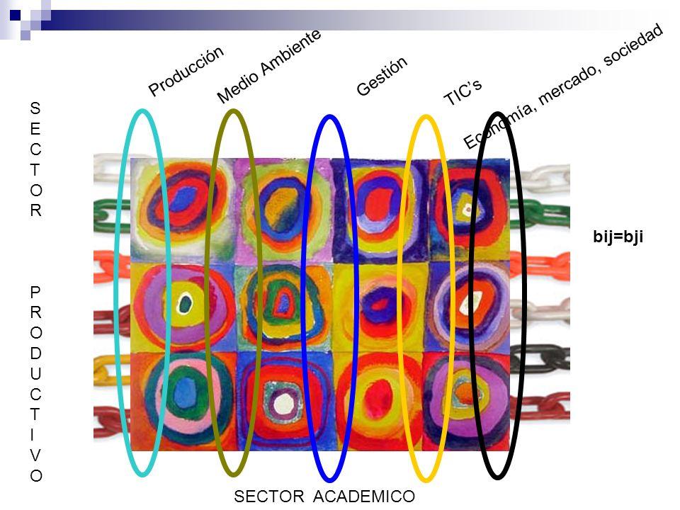 Medio Ambiente Producción Gestión Economía, mercado, sociedad TICs SECTORPRODUCTIVOSECTORPRODUCTIVO SECTOR ACADEMICO bij=bji
