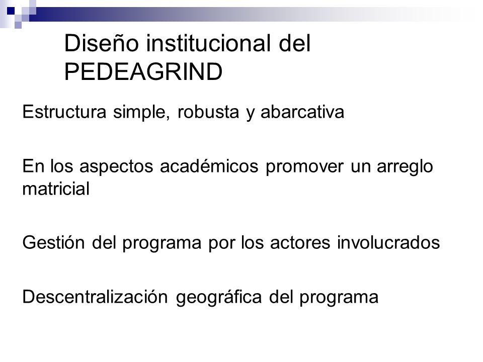 Estructura simple, robusta y abarcativa En los aspectos académicos promover un arreglo matricial Gestión del programa por los actores involucrados Descentralización geográfica del programa Diseño institucional del PEDEAGRIND