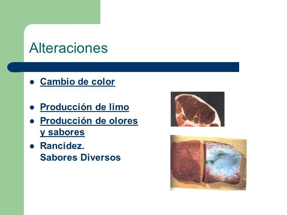 Alteraciones Cambio de color Producción de limo Producción de olores y sabores Rancidez. Sabores Diversos