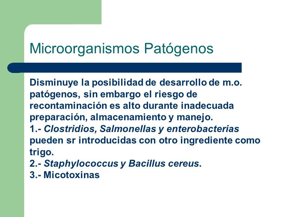 Microorganismos Patógenos Disminuye la posibilidad de desarrollo de m.o. patógenos, sin embargo el riesgo de recontaminación es alto durante inadecuad