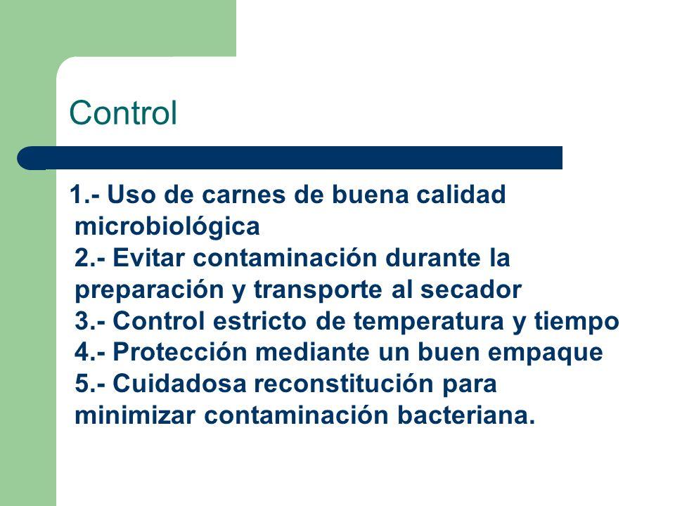 Control 1.- Uso de carnes de buena calidad microbiológica 2.- Evitar contaminación durante la preparación y transporte al secador 3.- Control estricto
