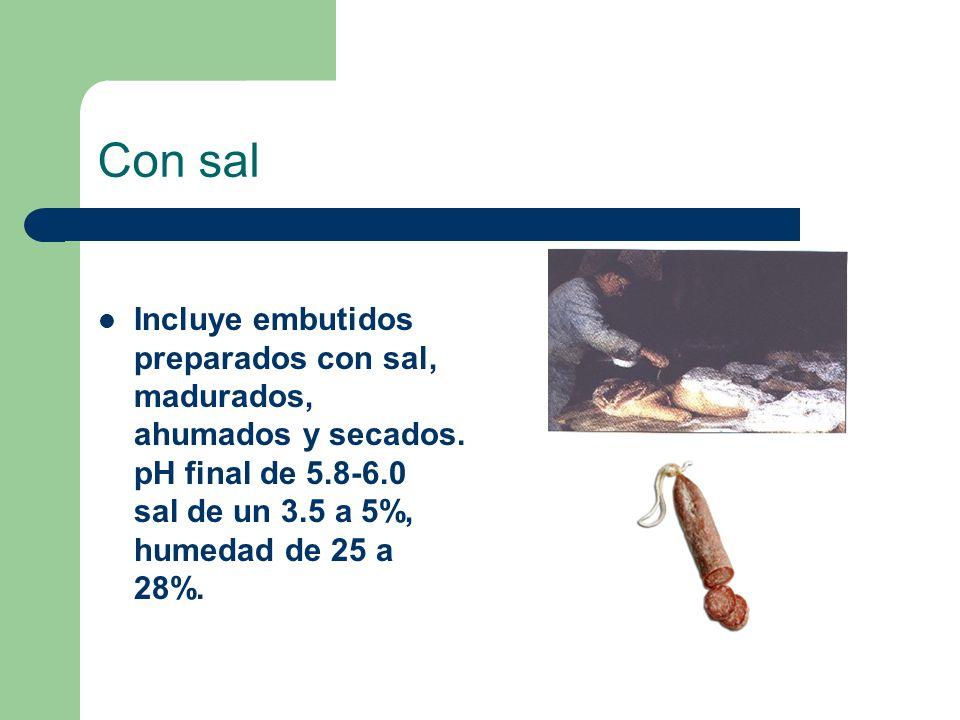 Con sal Incluye embutidos preparados con sal, madurados, ahumados y secados. pH final de 5.8-6.0 sal de un 3.5 a 5%, humedad de 25 a 28%.
