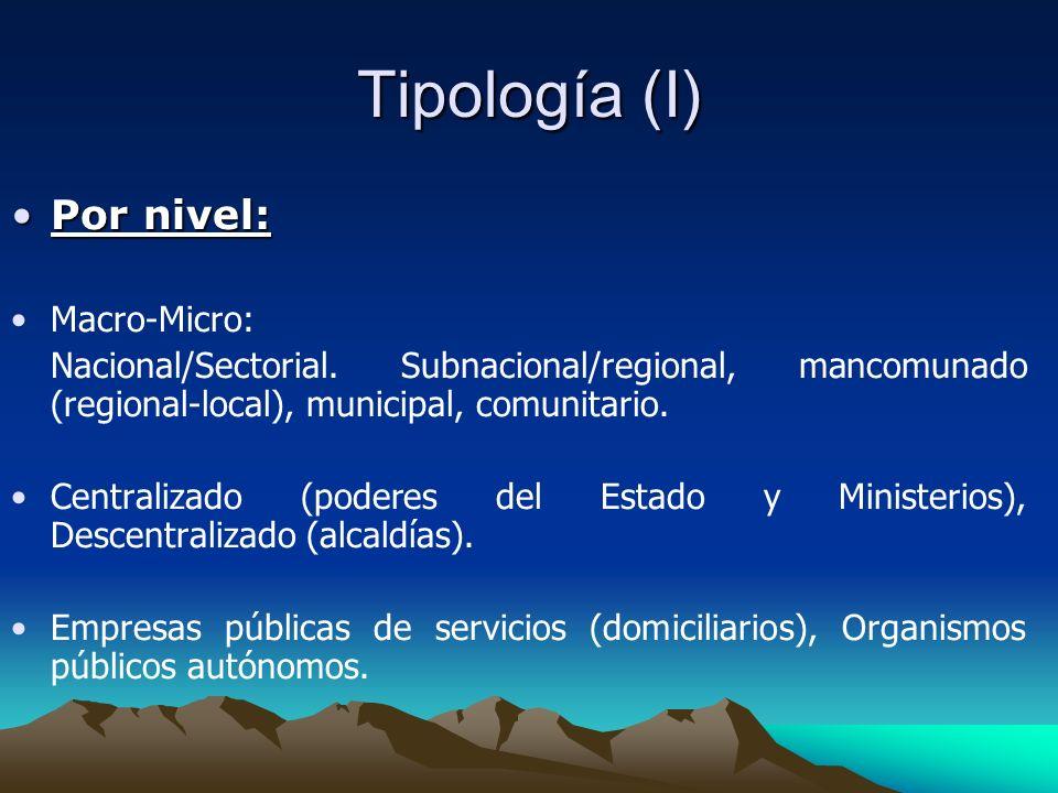 Tipología (I) Por nivel:Por nivel: Macro-Micro: Nacional/Sectorial. Subnacional/regional, mancomunado (regional-local), municipal, comunitario. Centra