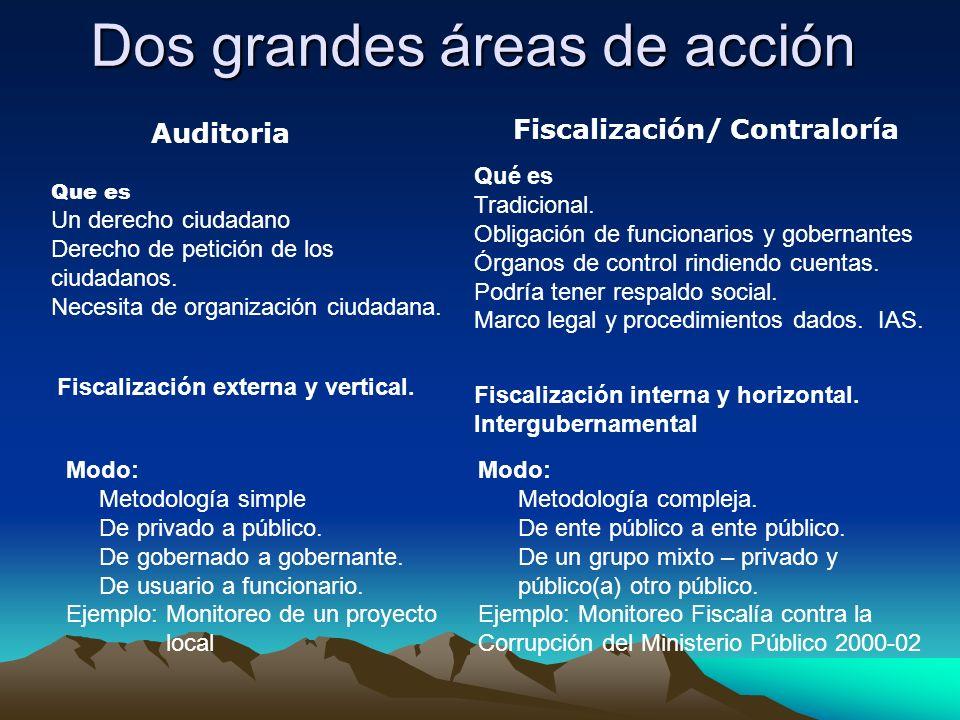 Dos grandes áreas de acción Auditoria Fiscalización/ Contraloría Fiscalización externa y vertical. Modo: Metodología simple De privado a público. De g