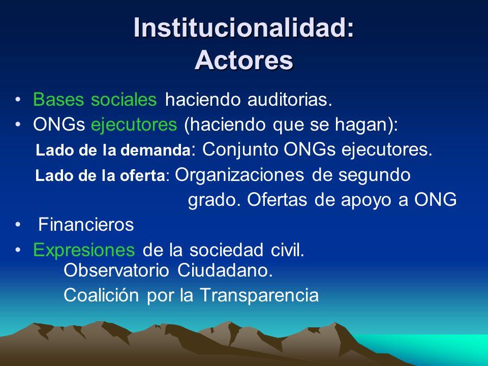 Institucionalidad: Actores Bases sociales haciendo auditorias. ONGs ejecutores (haciendo que se hagan): Lado de la demanda : Conjunto ONGs ejecutores.