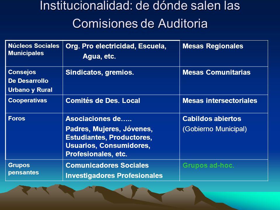 Institucionalidad: de dónde salen las Comisiones de Auditoria Núcleos Sociales Municipales Org. Pro electricidad, Escuela, Agua, etc. Mesas Regionales