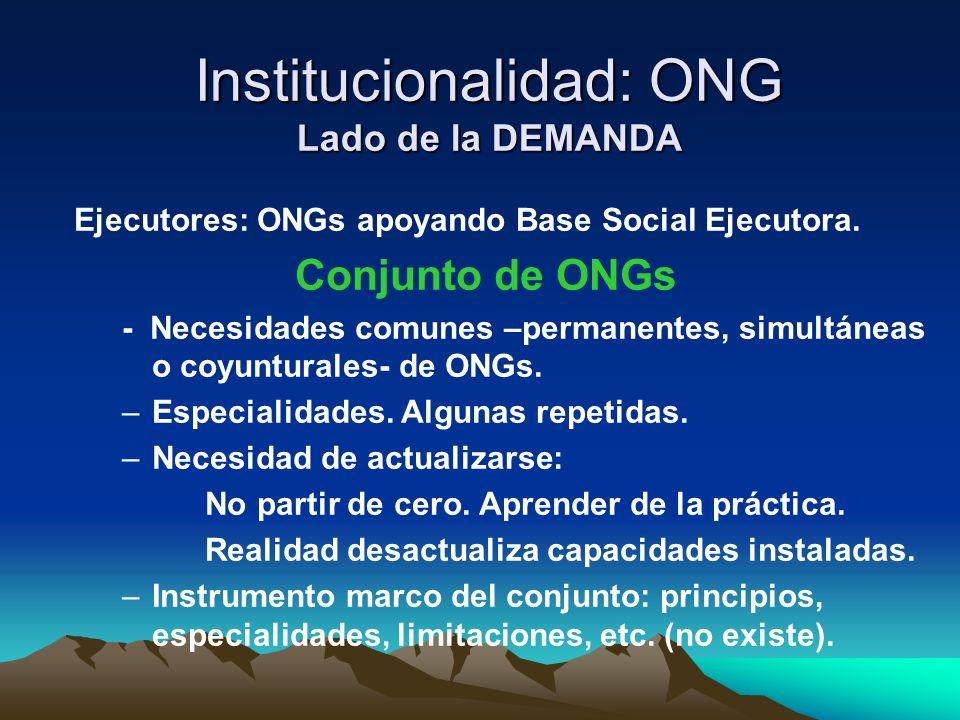 Institucionalidad: ONG Lado de la DEMANDA Ejecutores: ONGs apoyando Base Social Ejecutora. Conjunto de ONGs - Necesidades comunes –permanentes, simult