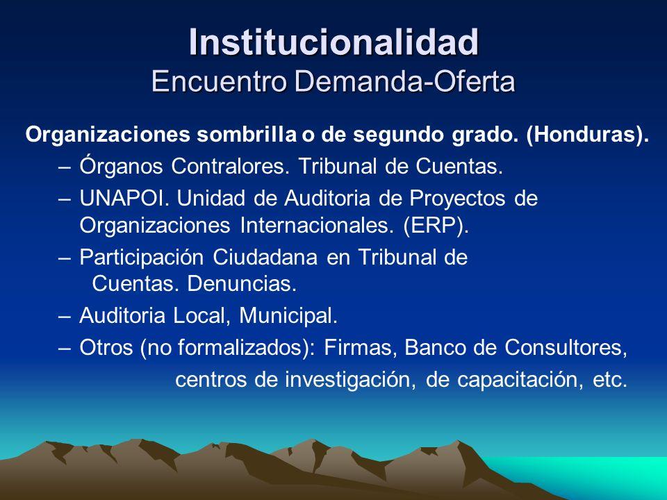 Institucionalidad Encuentro Demanda-Oferta Organizaciones sombrilla o de segundo grado. (Honduras). –Órganos Contralores. Tribunal de Cuentas. –UNAPOI