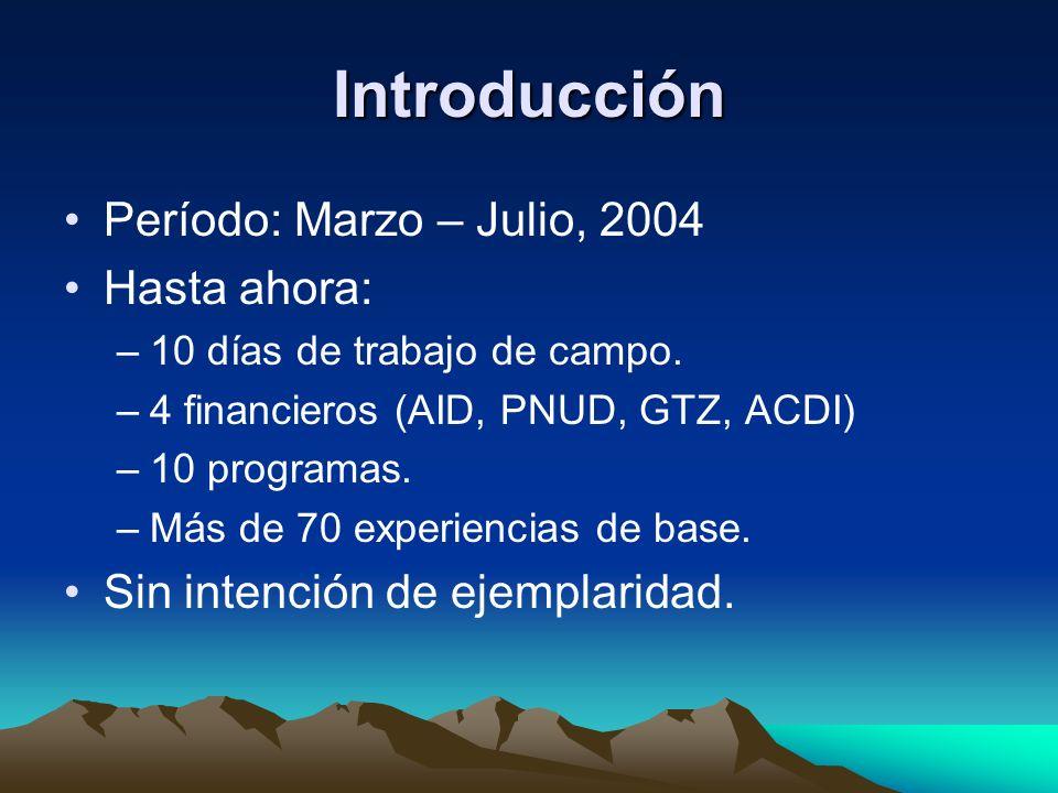 Introducción Período: Marzo – Julio, 2004 Hasta ahora: –10 días de trabajo de campo. –4 financieros (AID, PNUD, GTZ, ACDI) –10 programas. –Más de 70 e