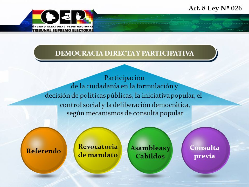 Art. 8 Ley N º 026 DEMOCRACIA DIRECTA Y PARTICIPATIVA Referendo Revocatoria de mandato Asambleas y Cabildos Consulta previa Participación de la ciudad