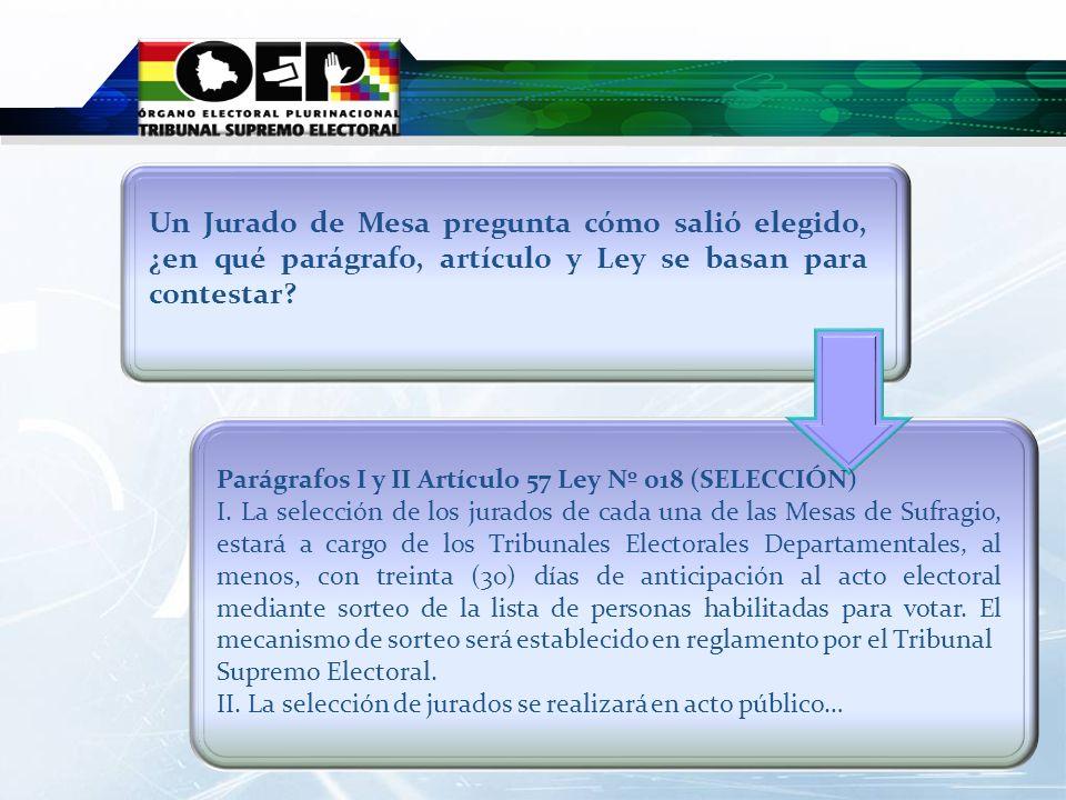 Parágrafos I y II Artículo 57 Ley Nº 018 (SELECCIÓN) I. La selección de los jurados de cada una de las Mesas de Sufragio, estará a cargo de los Tribun
