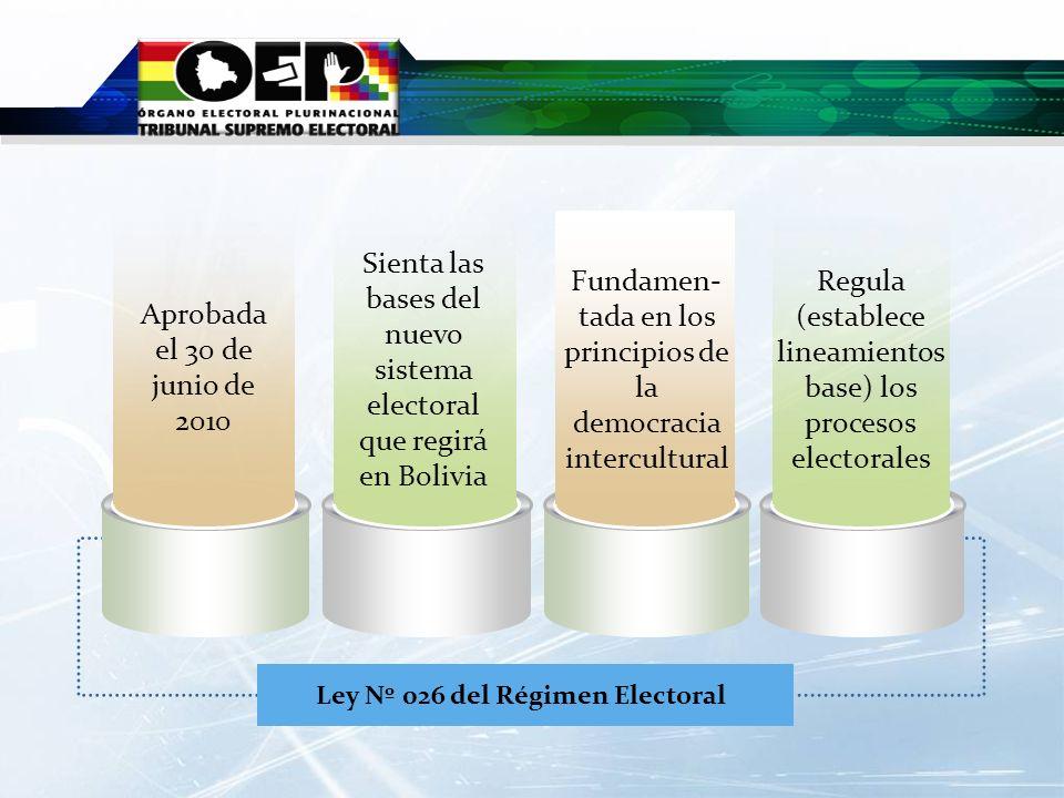 Ley Nº 026 del Régimen Electoral Fundamen- tada en los principios de la democracia intercultural Regula (establece lineamientos base) los procesos ele