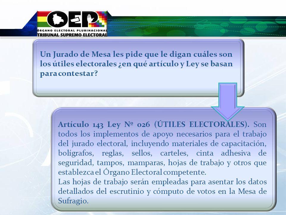 Artículo 143 Ley Nº 026 (ÚTILES ELECTORALES). Son todos los implementos de apoyo necesarios para el trabajo del jurado electoral, incluyendo materiale