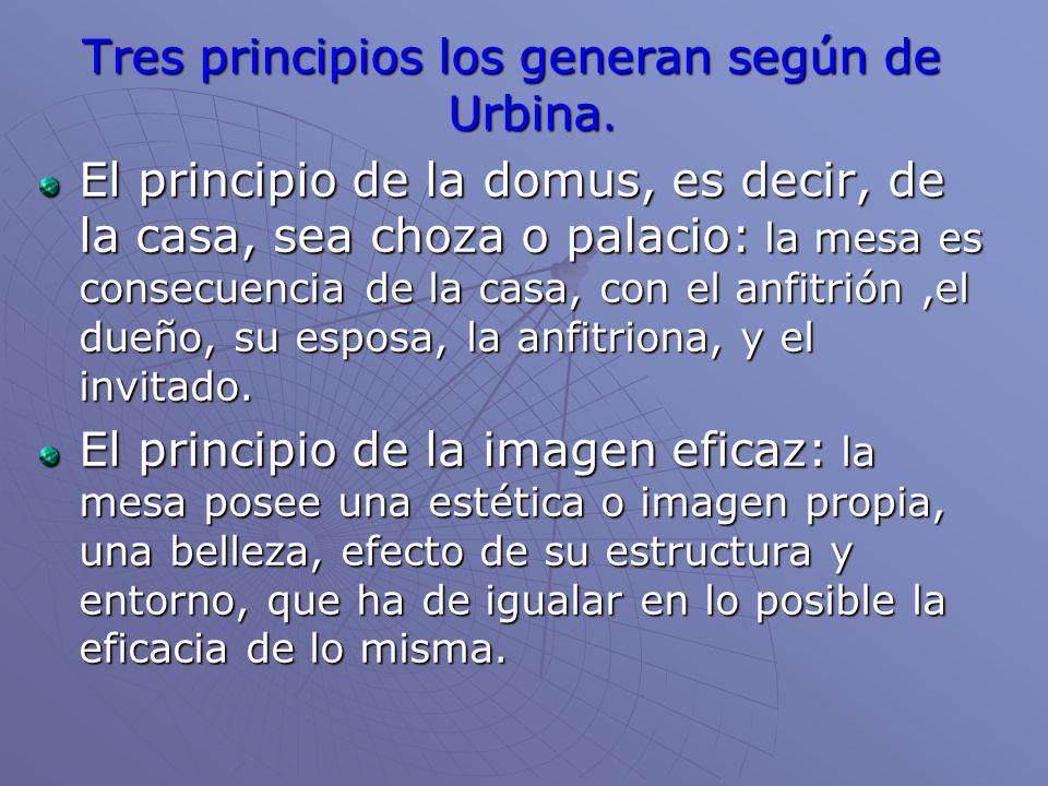 Tres principios los generan según de Urbina. El principio de la domus, es decir, de la casa, sea choza o palacio: la mesa es consecuencia de la casa,