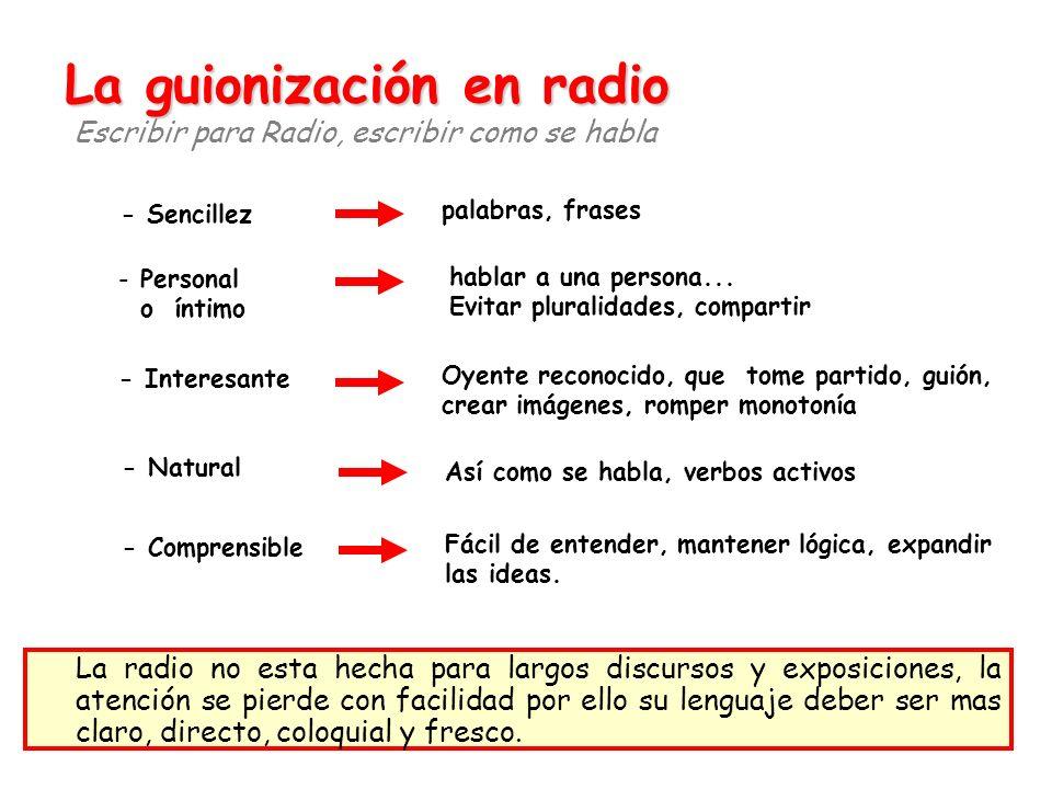 La guionización en radio La guionización en radio Escribir para Radio, escribir como se habla - Sencillez - Personal o íntimo - Interesante - Natural